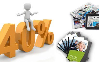 40 % Neukunden Rabatt für die Erstellung von Pressemitteilungen