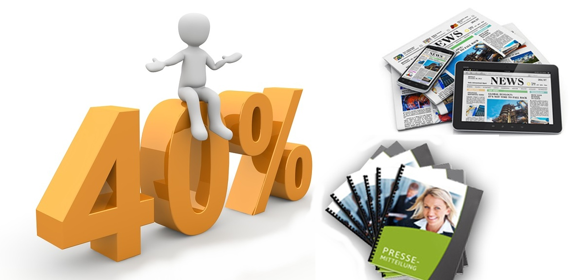 40% Neukunden Rabatt für die Erstellung von Pressemitteilungen